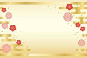 Japans naadloos nieuwjaars gouden kaartsjabloon. vector