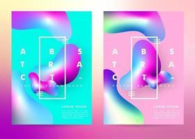 Poster met kleurovergang met vloeibare vormen