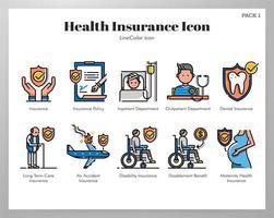Ziektekostenverzekering pictogrammen Line Color pack vector