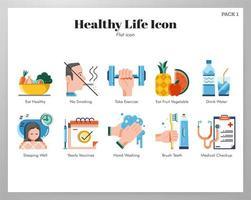 Gezond leven pictogrammen flat pack vector