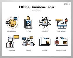 Office-bedrijfspictogrammen Lijnkleurpakket