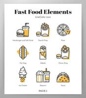 Fastfood elementen Line Color pack vector
