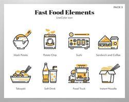 Fastfood elementen Line Color pack vector