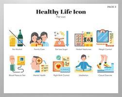 Gezond leven pictogrammen flat pack