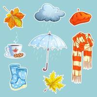 Set stickers met regenachtig thema vector