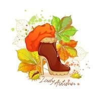 Vrouwelijke enkellaarsjes met hoge hakken en fel oranje baret