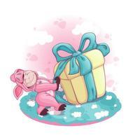 Een jongen in een roze varkenskostuum trekt een enorme geschenkdoos met een strik