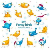 Een reeks grappige ongebruikelijke wintervogels in verschillende poses