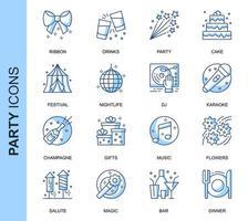 Blauwe dunne lijn partij gerelateerde Icons Set