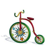 Heldere, kleurrijke circusfiets met grappige versieringen op wielen