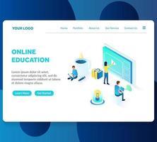 online onderwijs isometrische bestemmingspagina sjabloon