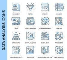 Blauwe dunne lijn Data-analyse gerelateerde Icons Set vector