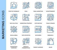 Blauwe dunne lijn marketing gerelateerde pictogrammen instellen voor website en mobiele site en apps. Overzicht pictogrammen ontwerp. Bevat pictogrammen zoals e-mailmarketing, sociale media, oplossing en meer. Lineair pictogrampakket. vector