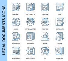 Blauwe dunne lijn juridische documenten gerelateerde Icons Set vector