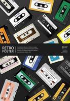 Vintage retro cassette tape poster ontwerpsjabloon