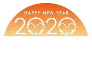 2020 - het jaar van de rat - nieuwjaarskaartsjabloon vector