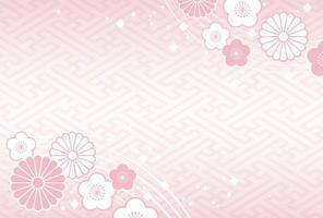 Japans Nieuwjaar kaartsjabloon met traditionele patronen. vector
