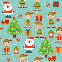 Seamles patroon met kerstman, elf, dozen, boom en klokken