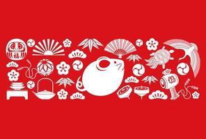 Japanse gelukkige rode charmes vector