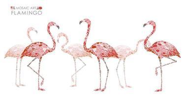 Mozaïek roze flamingo's op een witte achtergrond.