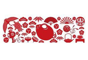 Jaar van de Rat New Years groet rode kaartsjabloon. vector