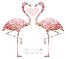 Mozaïek roze flamingo's geïsoleerd op een witte achtergrond.