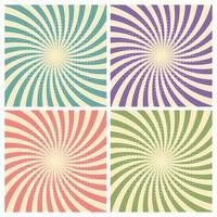 Set van circus grafische straaleffecten retro groen, blauw, paars, rood