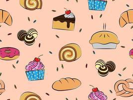 Gebak en desserts naadloos patroon vector