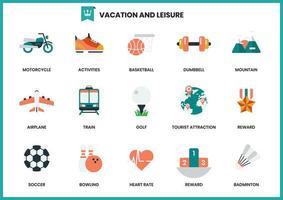 Set van vakantie en vrije tijd iconen vector