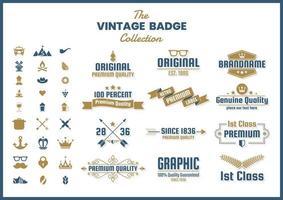 Set van blauwe gouden retro banners vector