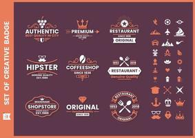 Set van paarse oranje vintage zakelijke badges vector