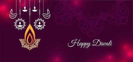 Purpere en rode Gelukkige Diwali-groet met hangende diya