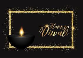 Diwali-achtergrond met gouden glitterygrens
