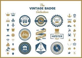 Set van blauwe gouden vintage ronde badges vector