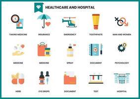 Set elementen van gezondheidszorg en ziekenhuis vector