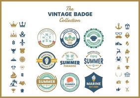 Set van blauw groen vintage logo badges vector