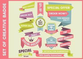 Set van kleurrijke creatieve promotionele badges vector