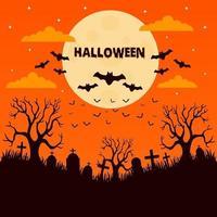 Halloween-nacht op de begraafplaats vector
