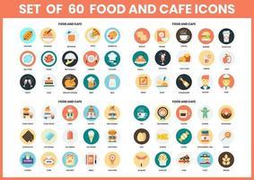 Eten en café circulaire pictogrammen instellen voor het bedrijfsleven vector