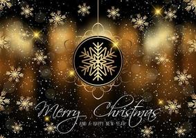 Gouden sneeuwvlokken Merry Christmas card