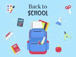 Blauw terug naar school poster sjabloon