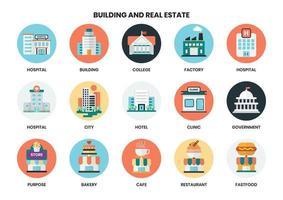 Circulaire gebouw pictogrammen instellen voor het bedrijfsleven