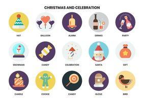 Circulaire Kerst iconen ingesteld voor het bedrijfsleven op wit