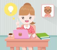Meisje dat op haar laptop werkt vector