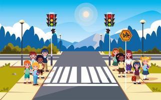 straatbeeld straat met verkeerslicht en schattige studenten vector