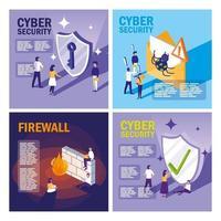 set iconen van cyberbeveiliging