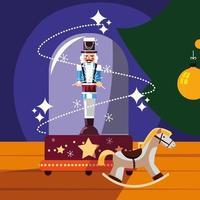 notenkraker generaal in kristallen bol met houten paard
