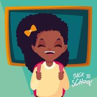 schattig klein student meisje in poster terug naar school