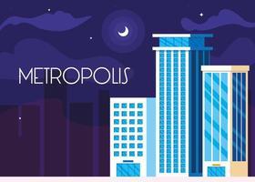 metropolis stadsgezicht gebouwen nachtscène vector