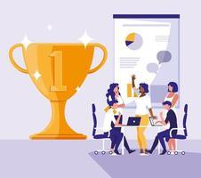 mensen uit het bedrijfsleven vieren met cup trofee